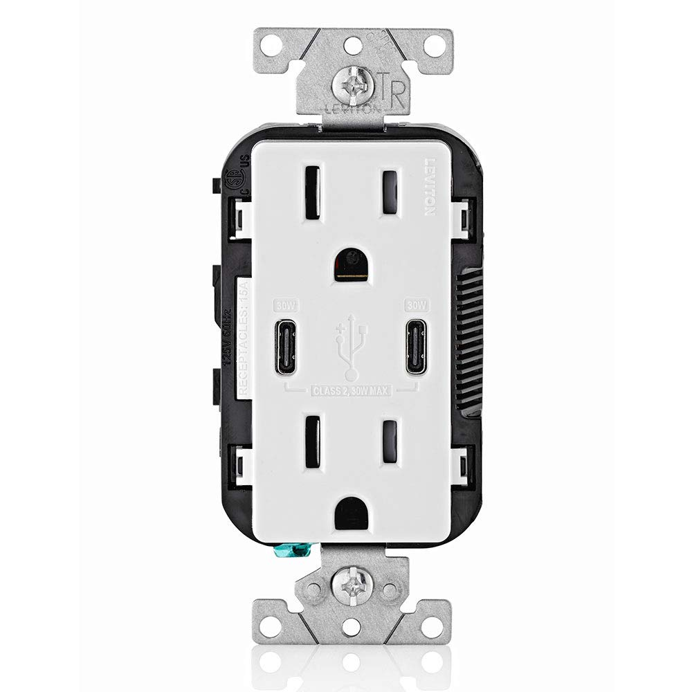 Leviton T5635-W USB Dual Type-C with Power Delivery (PD) In-Wall Charger with 15 Amp, 125 Volt Tamper-Resistant Outlet, White with Screwless Wallplates, 2-Pack