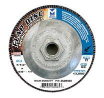 "Mercer Industries 262H060 Zirconia Flap Disc, High Density, Type 27, 4 1/2"" x 5/8"" 11 Thread, Grit 60, 10 Pack"
