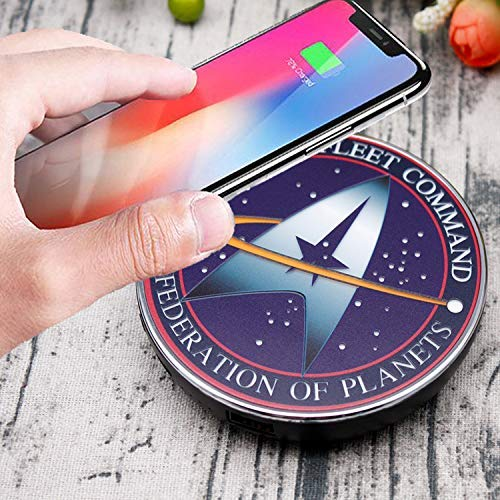 Star Trek Qi Wireless Charger with 8000 mAh Backup Battery Pack for Wired and Wireless Charging. Portable Wireless Phone Charger with Starfleet Illuminated Logo. StarTrek Gifts, Collectibles, Gadgets