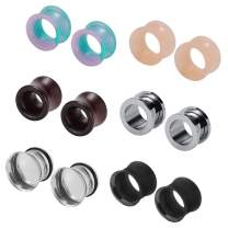 6 Pairs Earrings Gauges Stainless Steel Ear Tunnels Natural Wood Ear Plugs Silicone Piercing Plugs Earrings Stretcher Set