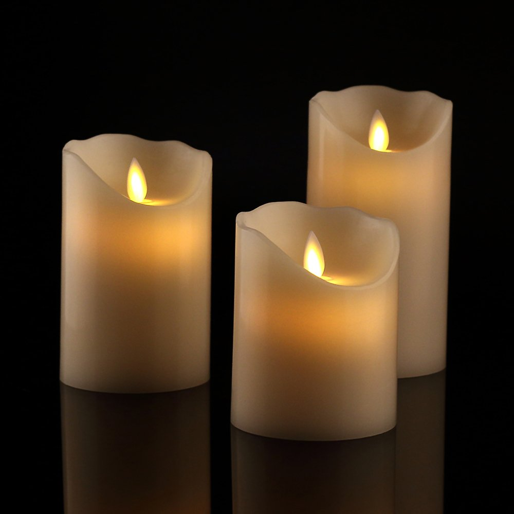 """Antizer Flameless Candles 4"""" 5"""" 6"""" Set of 3 Ivory Dripless Real Wax Pillars Include Realistic Dancing LED Flames and 10-Key Remote Control with 24-Hour Timer Function 400+ Hours by 2 AA Batteries"""