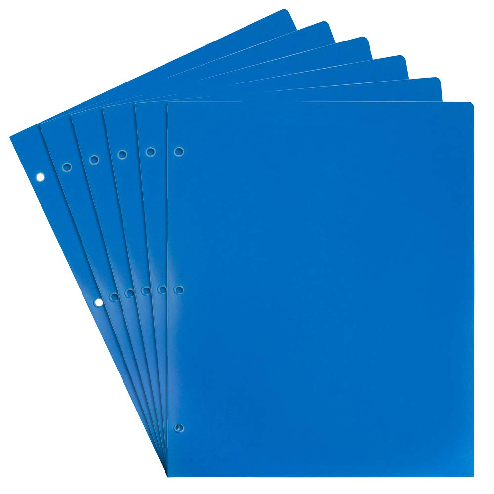 JAM PAPER Heavy Duty Plastic 3 Hole Punch School Folders with Pockets - Blue - 6/Pack