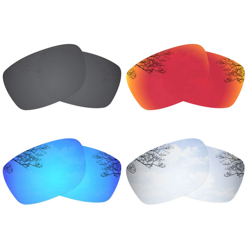 Dynamix 4 Pairs Polarized Replacement Lenses for Oakley Fives Squared - Solid Black/Fire Red/Ice Blue/Titanium