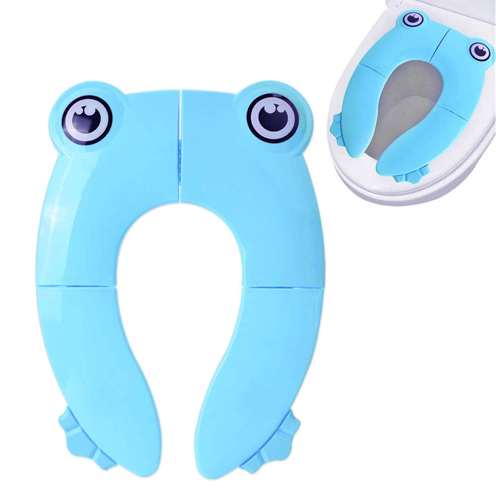 WeTest Folding Potty Training Toilet Seat with Non-Slip Silicone Pads and Carrying Bag for Babies, Toddlers, Kids,Portable and Reusable-Blue (Baby Potty Seat)