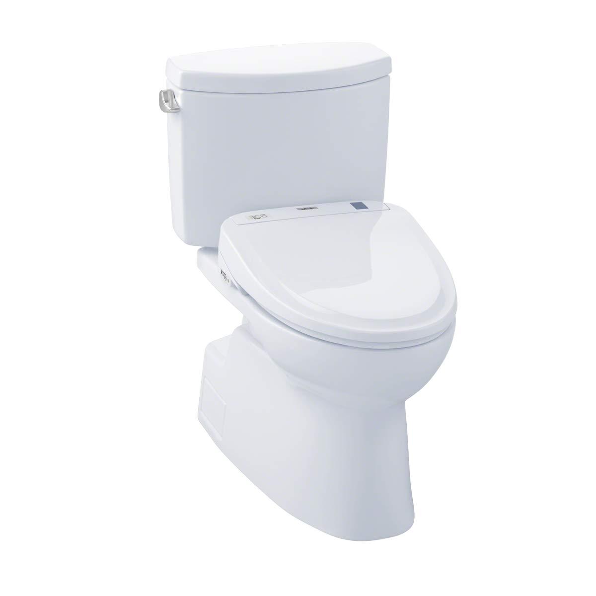 TOTO MW474584CEFG#01 WASHLET+ Vespin II Two-Piece Elongated 1.28 GPF Toilet and WASHLET S350e Bidet Seat, Cotton White
