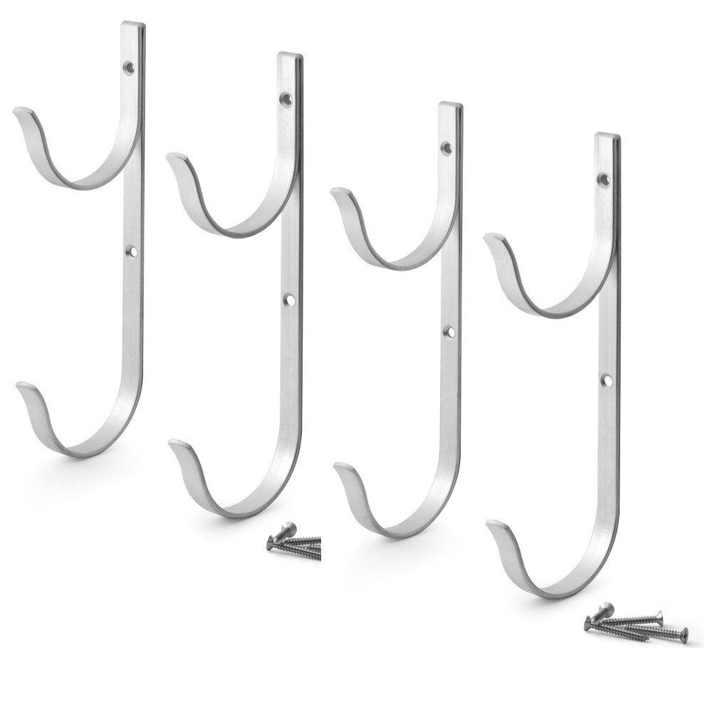 Pool Pole Hanger Premium 4pc Aluminium Holder Set by Aquatix Pro, Ideal Hooks for Telescopic Poles, Skimmers, Leaf Rakes, Nets, Brushes, Vacuum Hose, Garden Tools and Swimming Pool Accessories
