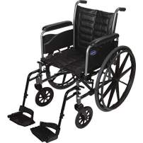 "Invacare Tracer EX2 Wheelchair, with Full Length Arms and T93HAP Hemi Footrests with Heel Loops, 18"" Seat Width"