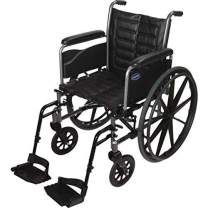 """Invacare Tracer EX2 Wheelchair, with Full-Length Arms and T93HCP Hemi Footrests with Heel Loops, 20"""" Seat Width"""