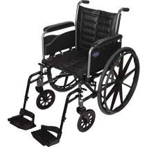 "Invacare Tracer EX2 Wheelchair, with Full-Length Arms and T93HCP Hemi Footrests with Heel Loops, 20"" Seat Width"