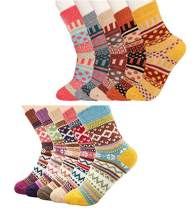 Besteel 10 Pairs Womens Winter Wool Knit Socks Soft Warm Cozy Thick Vintage Casual Crew Socks Gifts
