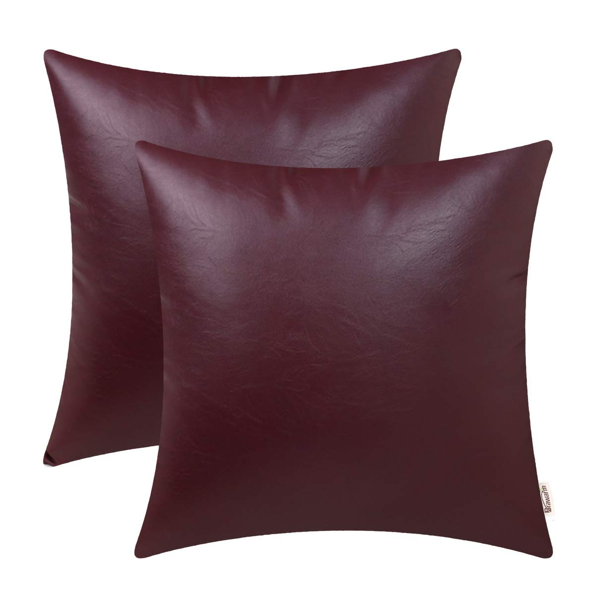 BRAWARM Pack of 2 Cozy Throw Pillow Covers Cases for Couch Sofa Home Decoration Solid Dyed Soft Faux Leather Both Sides 22 X 22 Inches Burgundy