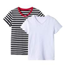 UNACOO Unisex Kids 2 Packs or 3 Packs Tees Short Sleeve V Neck T-Shirt for Boys and Girls (Age 3-12 Years)