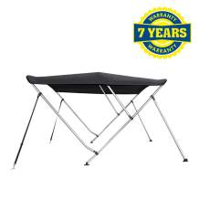 """Marine and Rv Direct Bimini Top Boat Cover 46"""" High 3 Bow 6' ft. L x 67"""" - 72"""" W Solution Dye Black"""