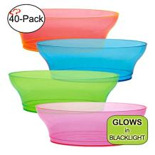 Tiger Chef Neon Assorted Party Plates, 40-Pack 10-ounce Hard Plastic Plates, Assorted Neon Colors Pink, Blue, Green and Orange