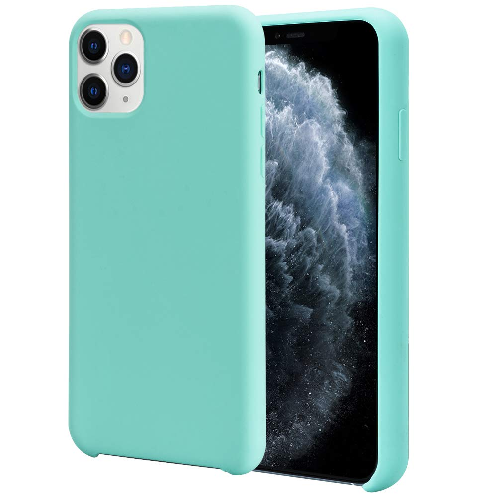 Orzero Liquid Silicone Gel Rubber Case Compatible for iPhone 11 Pro 2019, Full Body Shock Absorbing Ultra Slim Protective (Baby Skin Touch) -Mint Green