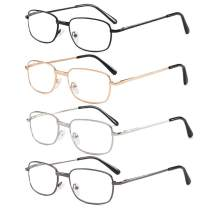 REAVEE 4 Pairs Reading Glasses for Men Women Metal Frame Spring Hinge Readers Eyeglasses with Case&Cloth - Choose Your Magnification +1.5