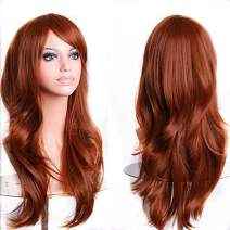 """TopWigy Red Long Curly Hair Wig Heat Resistant Big Wave Party Costume Cosplay Wigs with Wig Cap for Women (Red Brown 28"""")"""