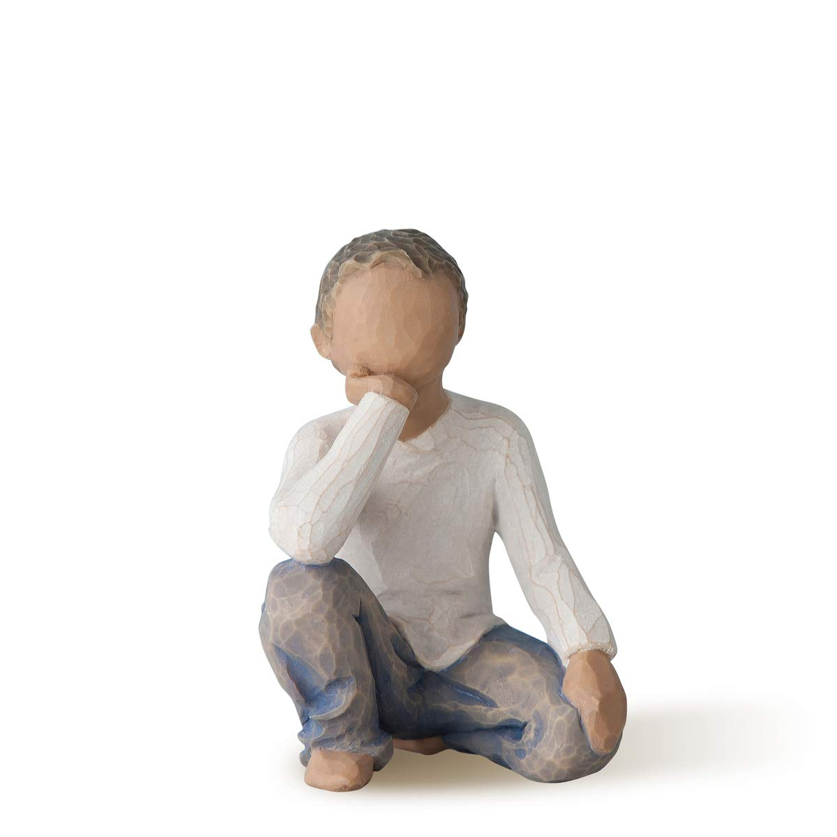 Willow Tree Inquisitive Child (Darker Skin Tone & Hair Color), Sculpted Hand-Painted Figure