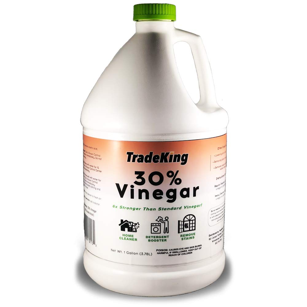 TradeKing 30% Vinegar - 1 Gallon of Industrial Strength Concentrated Vinegar - Perfect for Home & Garden - All Natural Cleaning Solution, Stain Remover, More.
