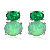 CiNily Sterling Silver or White Gold Plated Opal Stud Earrings With Orange Garnet/Green Quartz Birthstone Earrings Hypoallergenic Jewelry Gift for Women 10mm-12mm