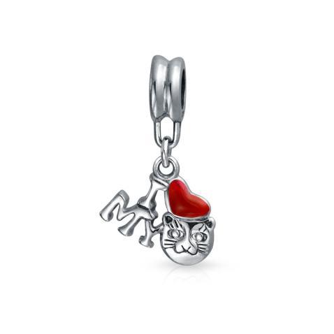 I Love My Cat Red Heart Kitten Pet Lover Dangle Charm Bead For Women For Teen Sterling Silver Fits European Bracelet