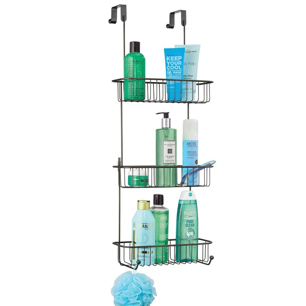 mDesign Extra Large Metal Over Shower Door Caddy, Hanging Bathroom Storage Organizer Center with Built-in Hooks and Baskets on 3 Levels for Shampoo, Body Wash, Loofahs - Black
