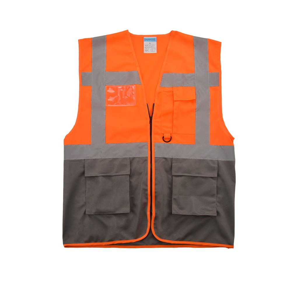 SHORFUNE 0018U High Visibility Safety Vest with Pockets, Zipper and Reflective Strips, Orange, ANSI/ISEA Standards, M