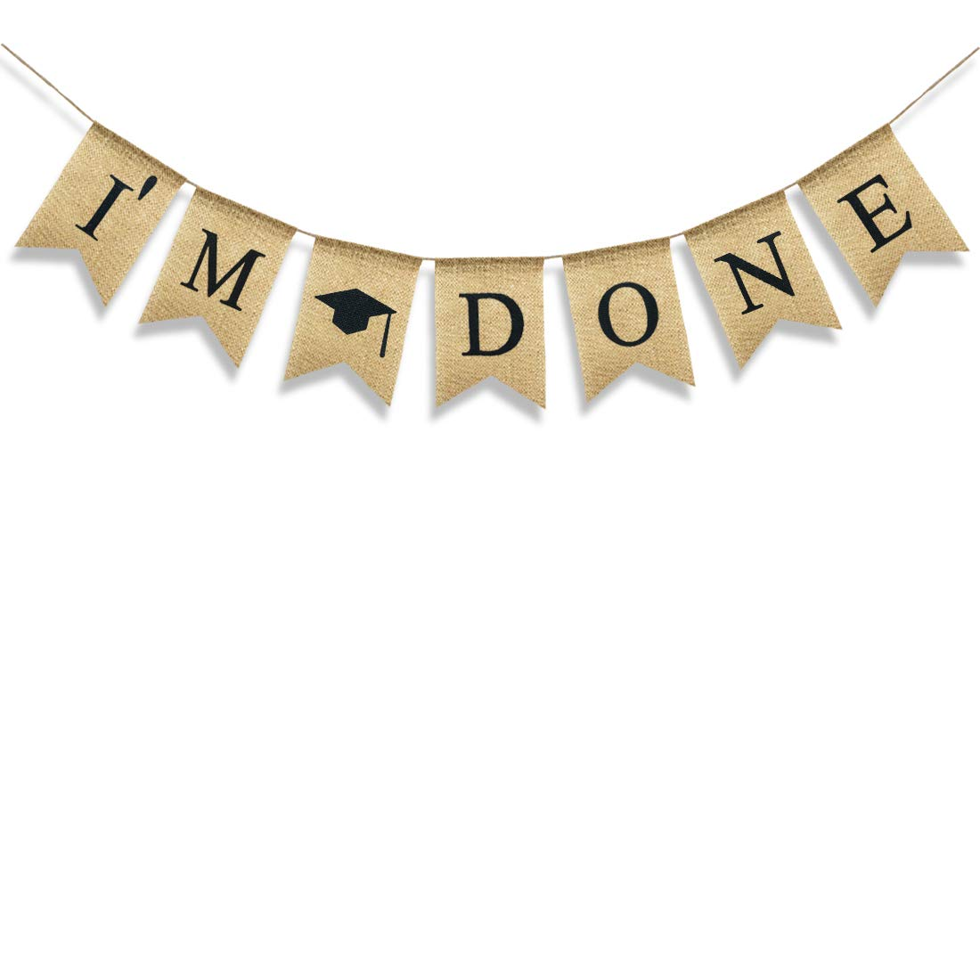 Uniwish I'm Done Banner Graduation Party Supplies 2019 Congrats Grad Party Decor for College Senior High School Garland Photo Props