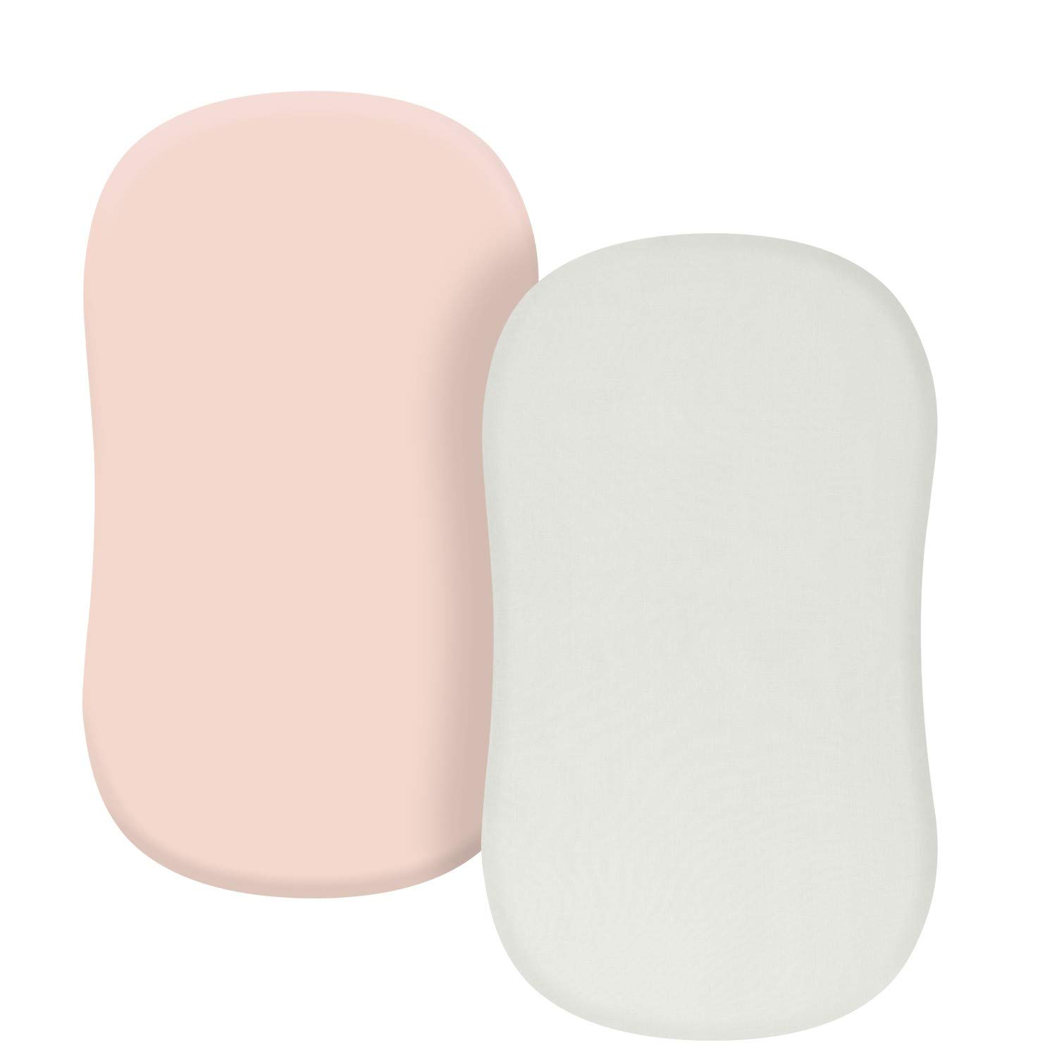 TILLYOU Jersey Knit Soft Bassinet Sheets Set, 32''x16'' Flexible for Different Cradle and Bassinet Mattress, Super Soft Breathable Cozy Baby Cradle Sheets, 2 Pack Peachy Pink & Lt Gray