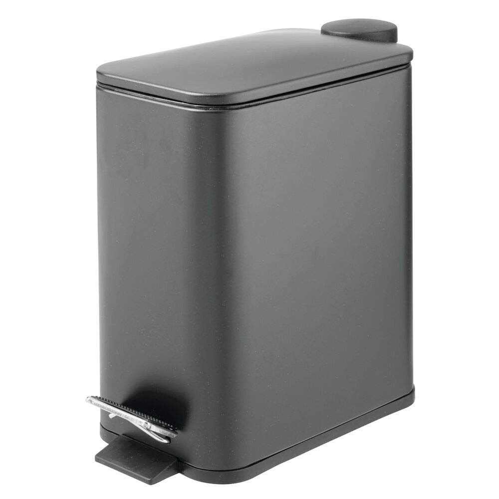 mDesign 1.3 Gallon Rectangular Small Steel Step Trash Can Wastebasket, Garbage Container Bin for Bathroom, Powder Room, Bedroom, Kitchen, Craft Room, Office - Removable Liner Bucket - Charcoal Gray