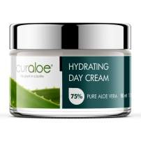 Aloe Vera Day Cream by Curaloe | 75% Pure Organic Aloe Lotion Enriched with African Shea Butter, Lavender Oil & Vitamin E for Face and Neck| Moisturizes Skin Naturally | Hydrates, Nourishes, Softens