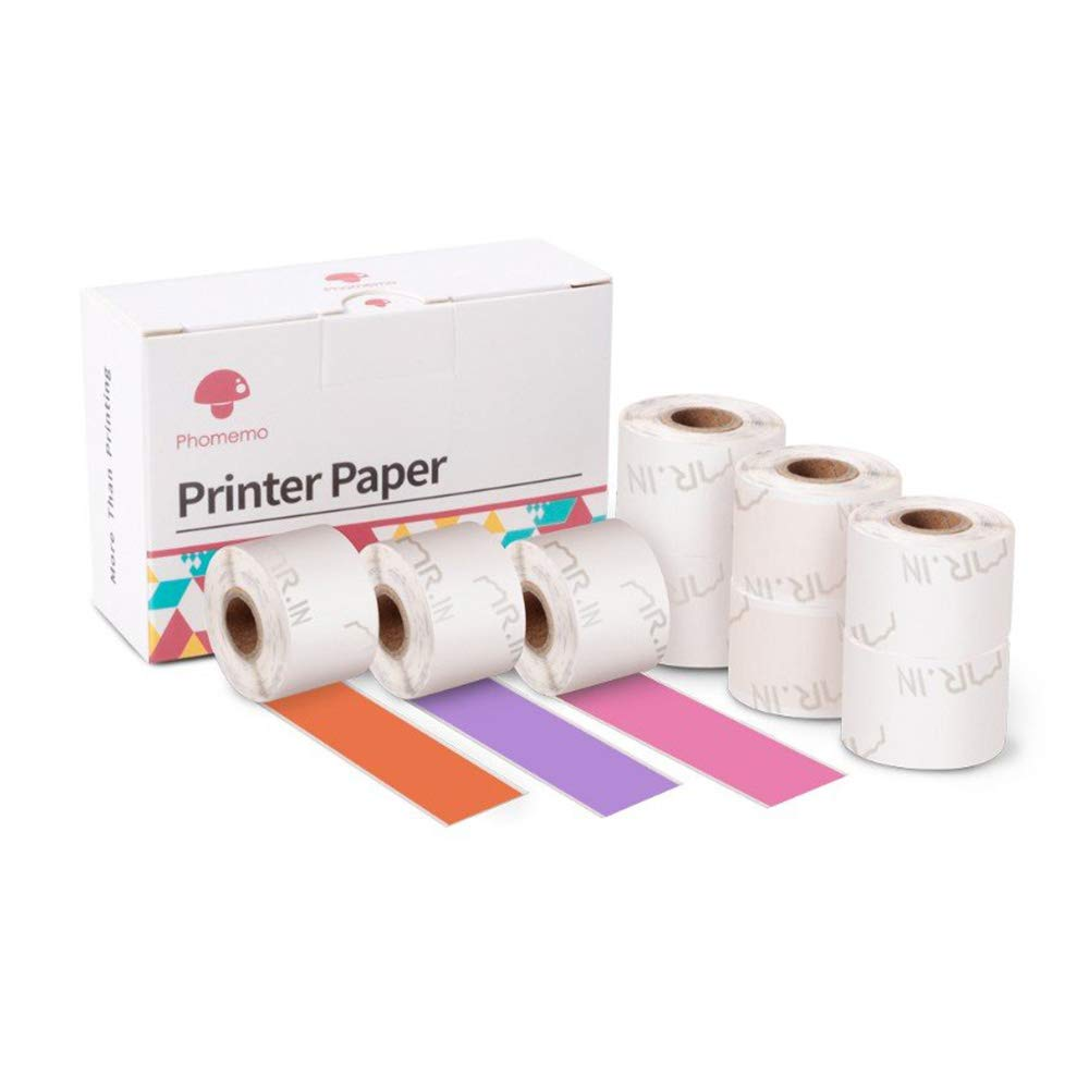 Phomemo Colorful Thermal Sticker Paper Black Character on Purple/Rose Red/Orange 15mm x 3.5m M02S Mini Bluetooth Printer, 3 Rolls of Each Color, Total 9 Rolls