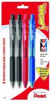 Pentel WOW! Retractable Ballpoint Pens, Medium Line, Assorted Ink, 4 Pack (BK440BP4M1)