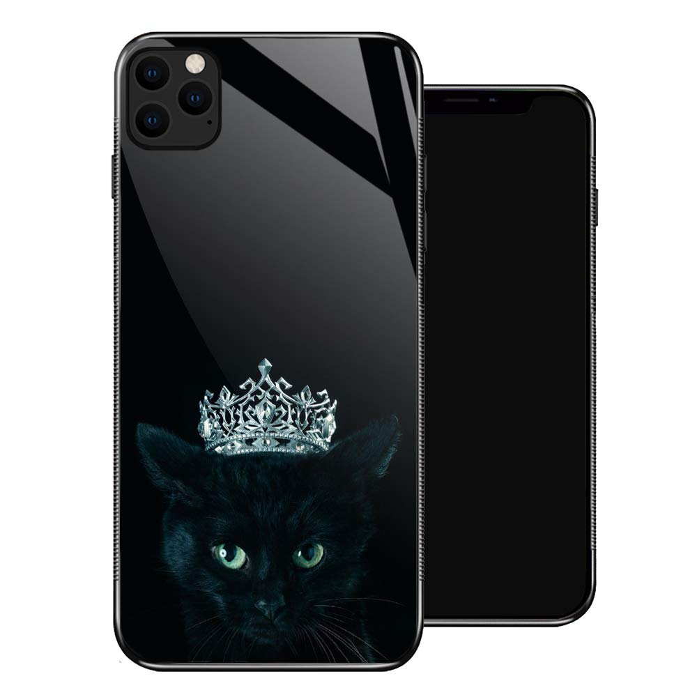 iPhone 11 Case,Black Cat Queen iPhone 11 Cases for Girls,Tempered Glass Pattern Design Back Cover[Shock Absorption] Soft TPU Bumper Frame Support Case for iPhone 11 Diamonds in The Crown Night