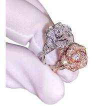 Brishow 3D Rose Ring CZ Simulated Diamond Ring Flower Ring for Women Eternity Wedding Ring 18K Engagement Diamond Rings Women Fashion Jewelry Ring Size 5-10 (6, Silver)