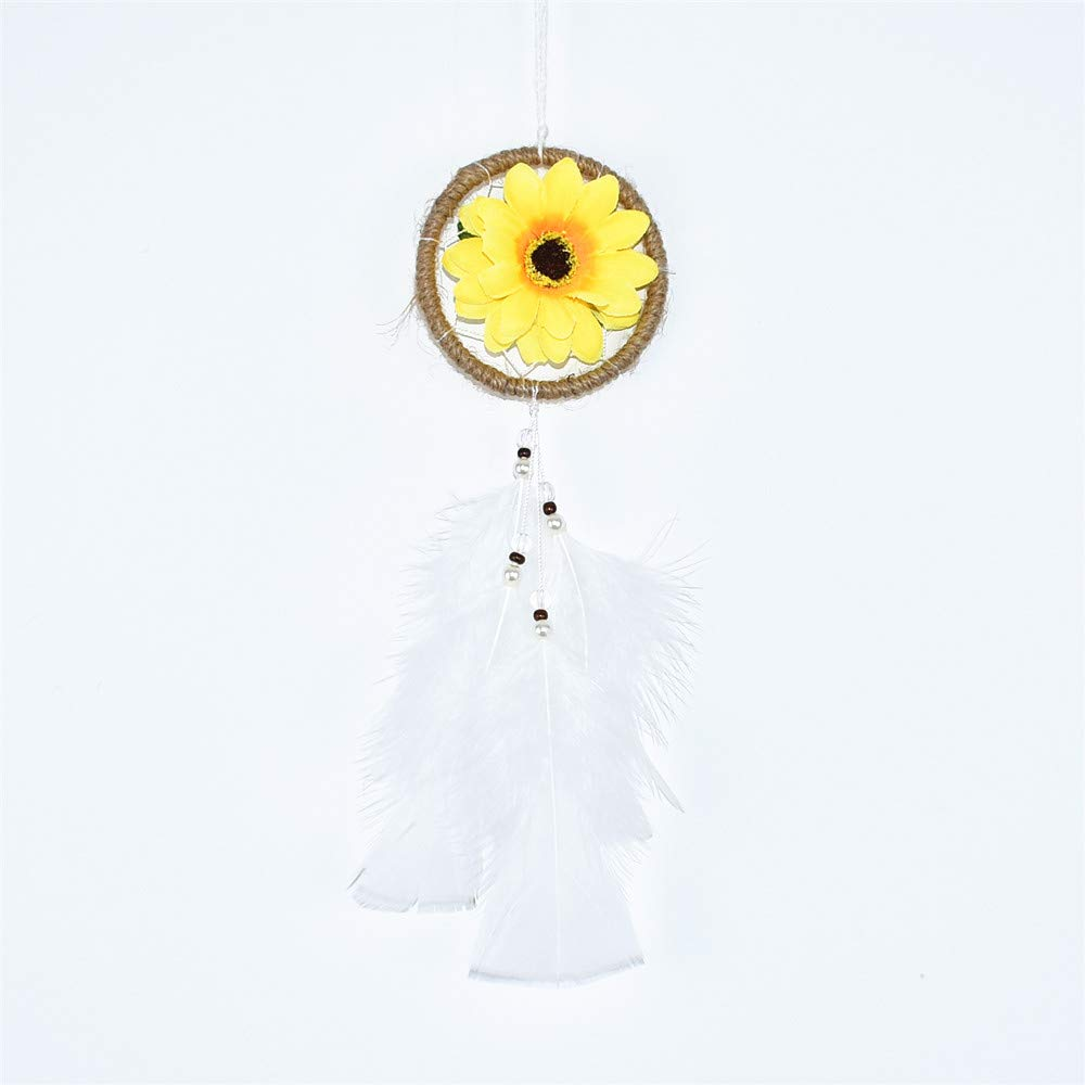 DrCor Small Sunflower Dream Catcher For Cars Rearview Mirror Accessories Handmade White Dream Catchers Car Charms Hanging Decorations