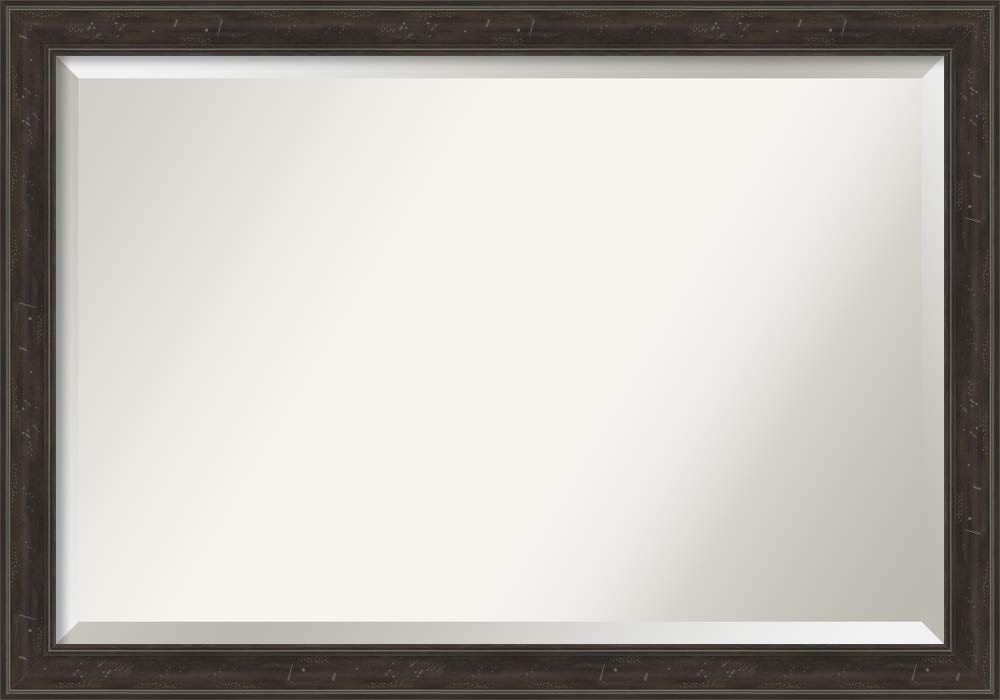 Amanti Art Framed Vanity Mirror | Bathroom Mirrors for Wall | Shipwreck Greywash Narrow Mirror | Wall Mounted Mirror | Large Mirror | 28.00 x 40.00 in.