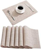 DOLOPL Placemat Placemats Waterproof Beige Placemats Set of 6 Crossweave Woven Vinyl Laminated Table Mat Easy to Clean Heat Resistant Wipeable Spring Placemats for Dining Table