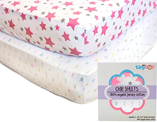 My Tiny Tot Baby Crib Sheets Boy or Girl (2 Pack) – Organic Cotton Fitted Crib Sheet Set for Baby Crib Mattress – Extra Soft, Premium Baby Nursery Bedding – Pink
