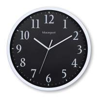 Moonport Wall Clocks Battery Operated,Silent Non-Ticking 12 inch Round Analog Wall Clock and Large Decorative On The Wall,Easy to Ready for Kids Bedroom,Kids Zoo,Home,Office,School-White