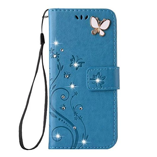 Aulzaju iPhone X/XS Handmade Case, iPhone X/XS Luxury 3D Bling Rhinestone Soft Slim Flip Stand Wallet Cover for iPhone X/XS 5.8 Inch Flower Butterfly PU Leather Diamond Case for Girls Women-Blue
