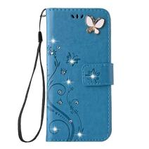 iPhone XR Handmade Case,Aulzaju iPhone XR Luxury 3D Bling Rhinestone Soft Slim Flip Stand Wallet Cover for iPhone XR 6.1 Inch Flower Butterfly PU Leather Diamond Case for Girls Women-Blue