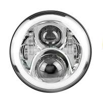 Eagle Lights Generation II 7 inch LED Headlight With White Halo Ring for Harley Davidson Motorcycles - Chrome