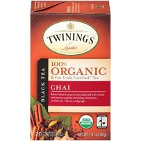 Twinings of London Organic and Fair Trade Certified Chai Tea Bags, 20 Count (Pack of 6)