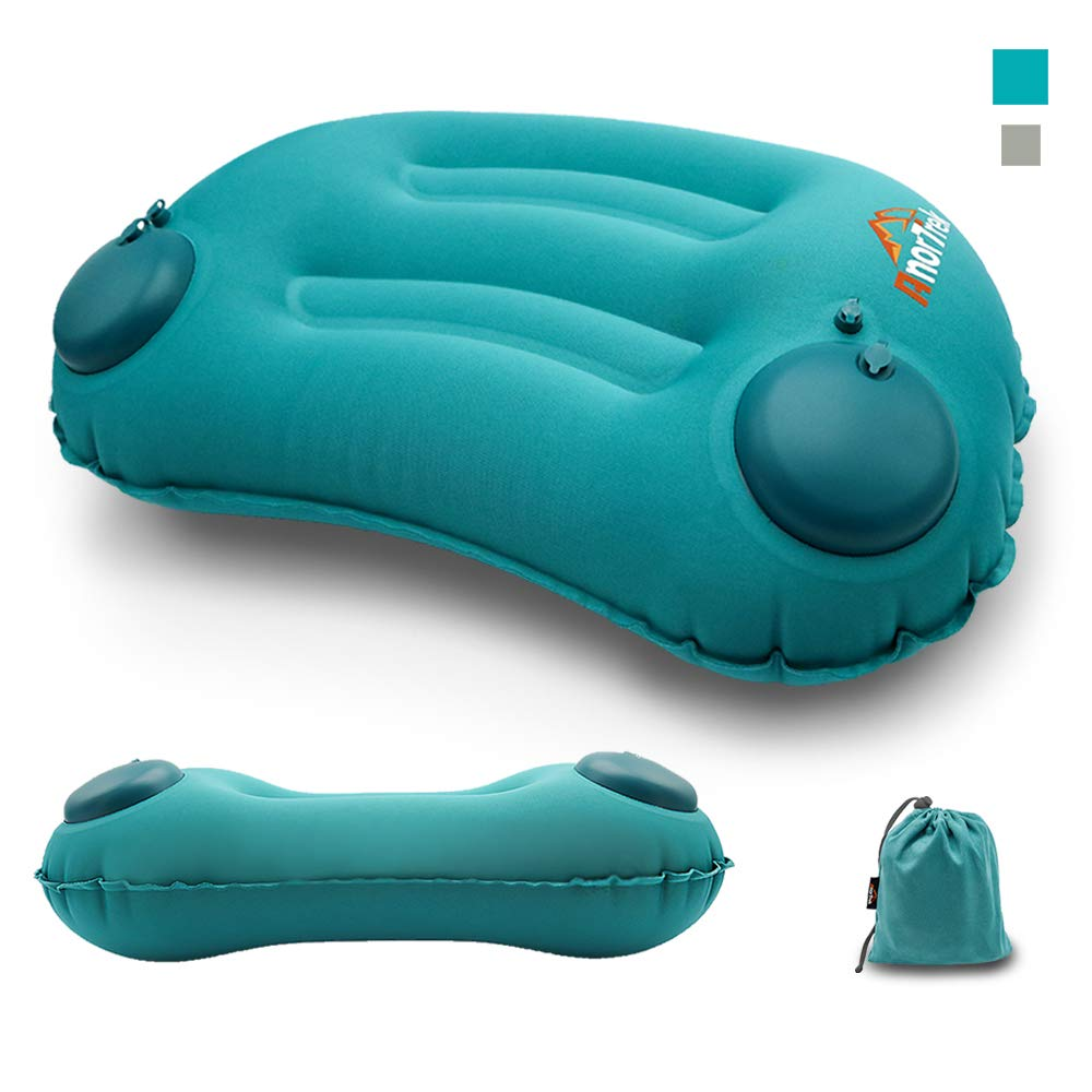 AnorTrek Inflatable Pillow, Ultralight Camping Travel Compressible Pillow Ergonomic Camp Air Pillow for Hiking, Airplane & Road Trip, Compact Soft Backpacking Pillow for Neck & Lumbar Support (Blue)