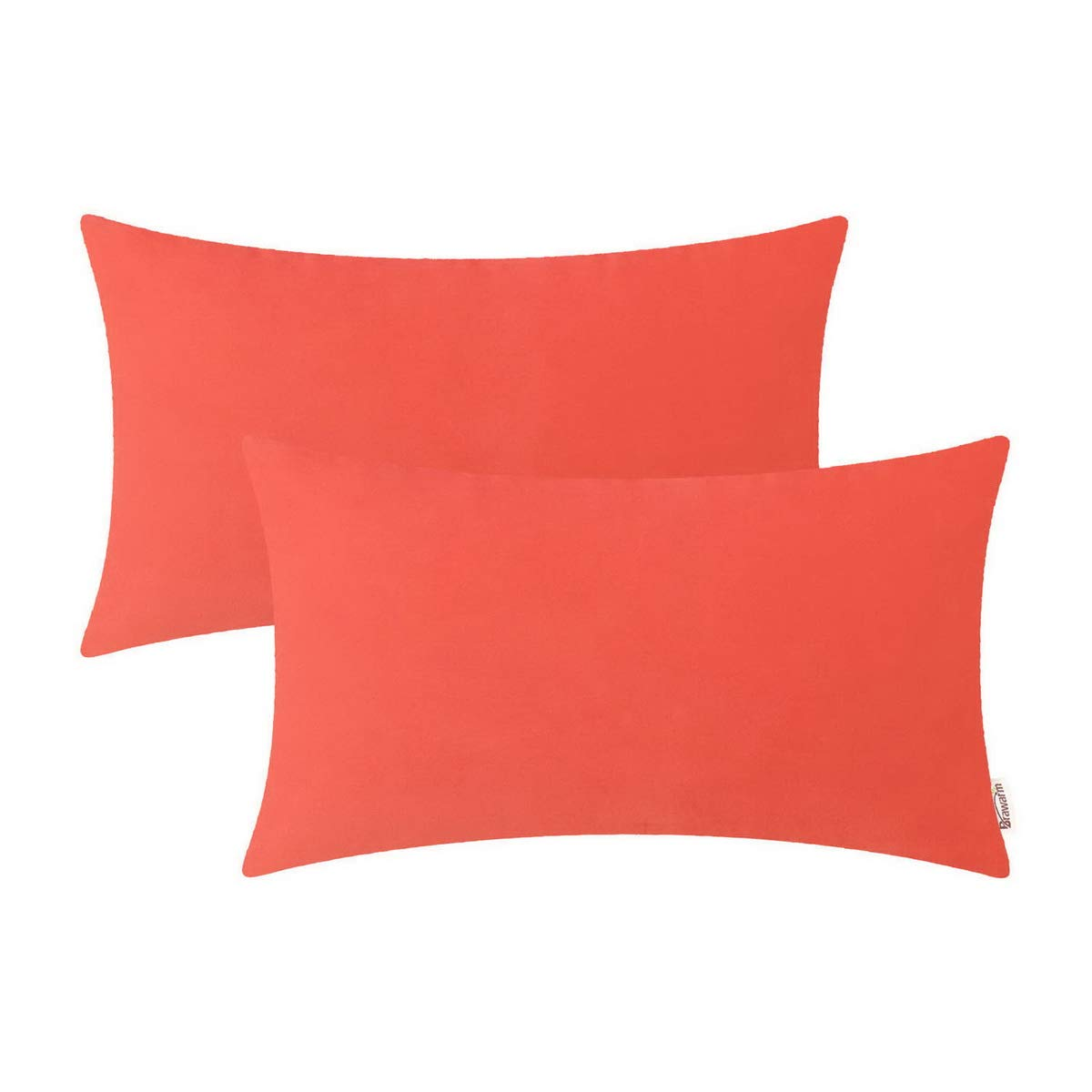 BRAWARM Pack of 2 Cozy Bolster Pillow Covers Cases for Couch Sofa Home Decoration Solid Dyed Soft Velvet Both Sides 12 X 20 Inches Living Coral