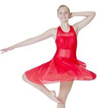HDW DANCE Women Mesh Halter Leotard Dance Dress Lyrical Modern Contemporary