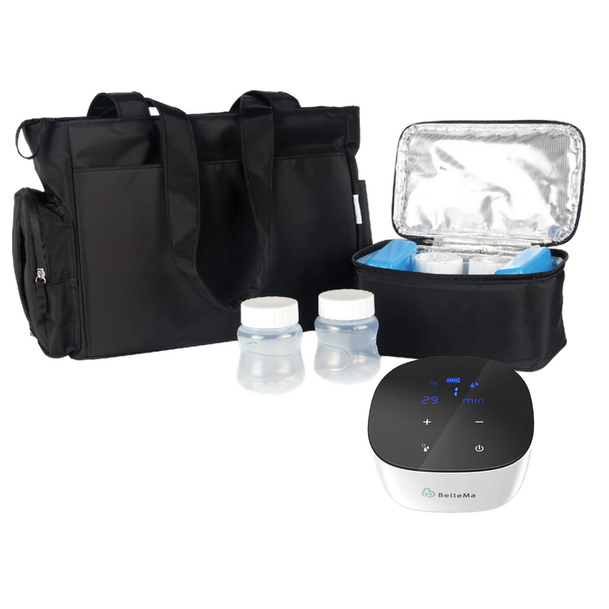 BelleMa E5 Double Electric Breast Pump with Tote and Cooler Pack, Hospital Grade, Patented 3D Collection Closed System, 2-Phase Mode, 9 Suction Levels, Li-Battery, Portable for Travel/Office/Home