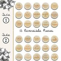 Baby Monthly Memory Photo Cards Set of 15 Double Sided Wooden Engraved Discs | Reversible with Weeks, Months, Holidays and Infant Firsts for Newborn Photography Props, Shower Registry Gift, Stickers