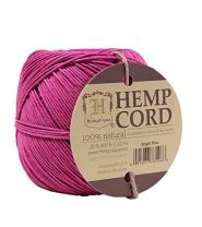 Hemptique 100% Natural Hemp Cord Ball - 122 Meter Hemp String - Biodegradable 1mm Cord Thread for Jewelry Making, Macrame, Greeting Cards & More - Bright Pink, Single Pack